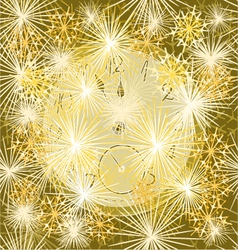 New year clock and fireworks vector image
