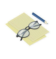 notepad sheets with folded glasses and pen vector image