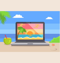 Open notebook picture of tropical sunset coastline vector