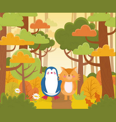 penguin and fox forest nature landscape vector image