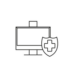 protected computer icon vector image