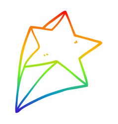 Rainbow gradient line drawing cartoon stars vector