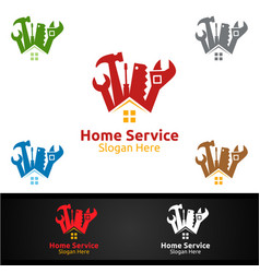 Real estate and fix home repair services logo vector