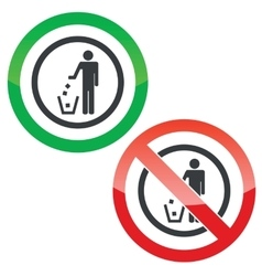 Recycling permission signs vector image