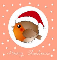 Red robin bird santa claus on orange greeting card vector