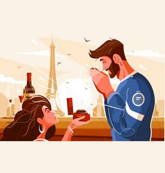 Romantic scene lovers vector