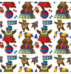 Seamless background with circus bears vector