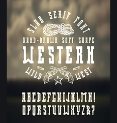 serif font in western style hand drawn vector image