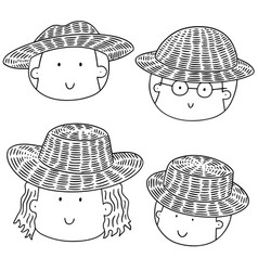 set of people with straw hat vector image