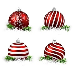 Set of realistic red christmas balls vector image