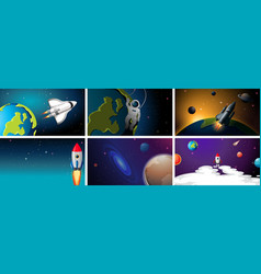 Set rockets in space scenes vector