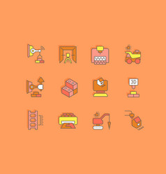 set simple line icons construction vector image