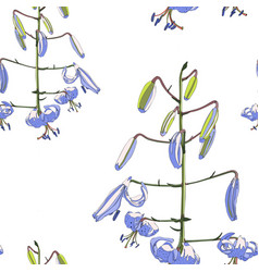 simple violet lily flowers seamless pattern vector image