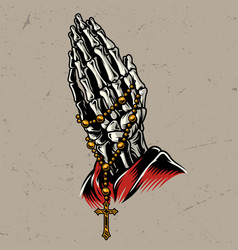 Skeleton praying hands with rosary vector