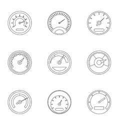 Speedometer for transport icons set outline style vector