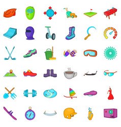 Sport activity icons set cartoon style vector