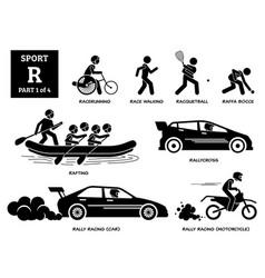 Sport games alphabet r icons pictograph vector