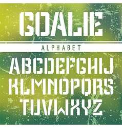 Stencil plate sans serif font in the sport style vector