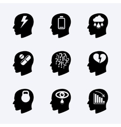 Stress and depression icon set vector