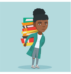 Student carrying a heavy pile of books on back vector