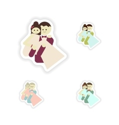 Stylish concept paper sticker groom carries his vector