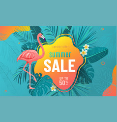 summer sale poster background with bright vector image