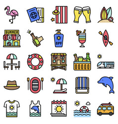 summer vacation related icon set 3 filled style vector image