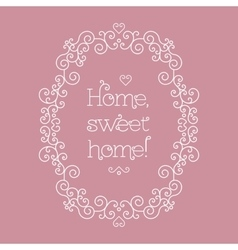 Sweet home lettering and frame line art Salmon vector