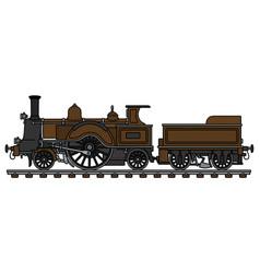 The vintage brown steam locomotive vector