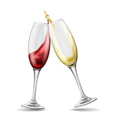 two wine glasses with red and white wine in vector image