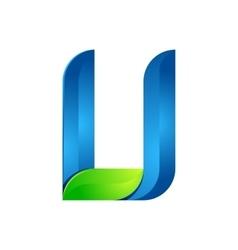 U letter leaves eco logo volume icon vector