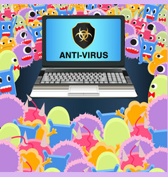 Virus computer attack laptop protected antivirus vector