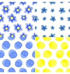 watercolor blue flowers polka dot seamless vector image