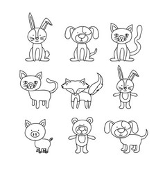 white background with set of hand drawn animals vector image