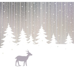 Winter Forest and Goat New Year Background vector image
