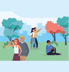 Women and men in park with smartphone vector