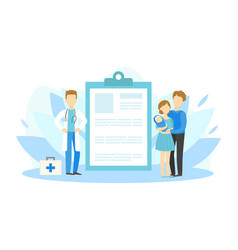 young parents with bavisiting doctor medical vector image