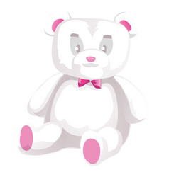 cute white teddy bear isolated on white vector image vector image
