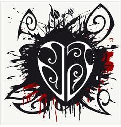 grunge heart resize vector image