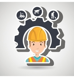 man construction tool gears vector image
