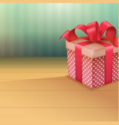perspective view on retro gift box and bow vector image