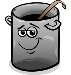 pot or pan with ladle cartoon vector image