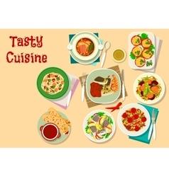 Tasty lunch menu icon for restaurant design vector
