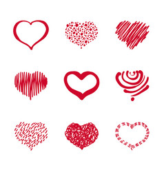 37 set of hand-drawn heart vector image vector image