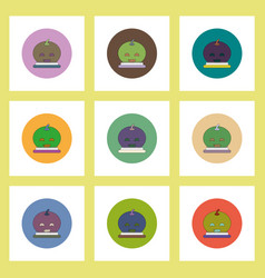 flat icons halloween set of smiling pumpkin vector image