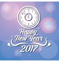 happy new year 2017 greeting card with clock vector image