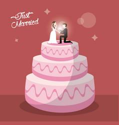Just married cake dessert vector