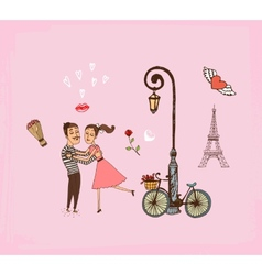 Romantic couple on a Paris vacation vector image vector image