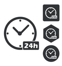 24 hours icon set monochrome vector