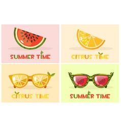 citrus orange and watermelon glasses set vector image vector image